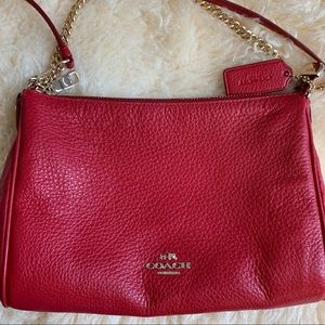 Coach Carrie Crossbody in Red Pebble Leather